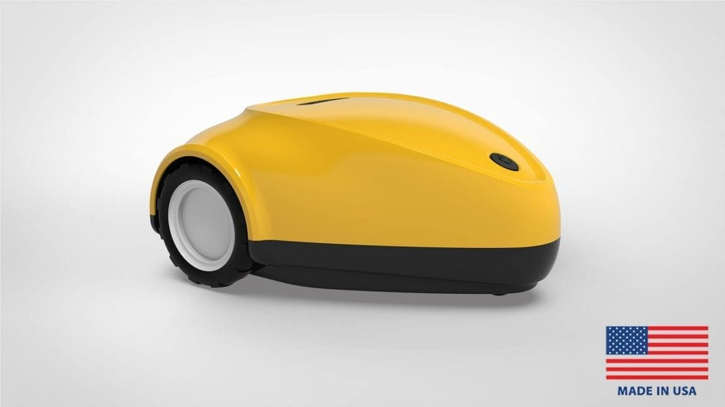 SmartMow robotic lawn mower in school bus yellow