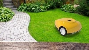 SmartMow gps robotic lawn mower in yellow